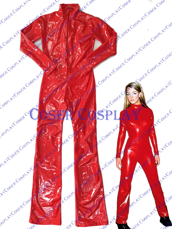 2019 Britney Spears PVC Catsuit Red Sexy Party 0527