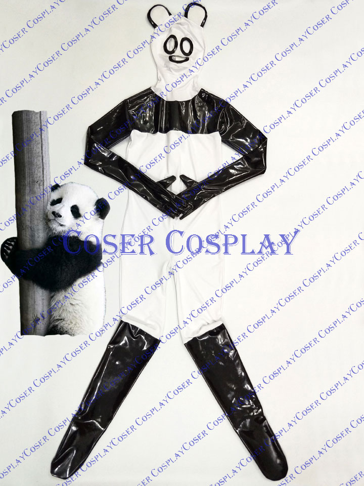 2019 Cute Panda Full Body Zentai Kids Halloween Costumes PVC 0428