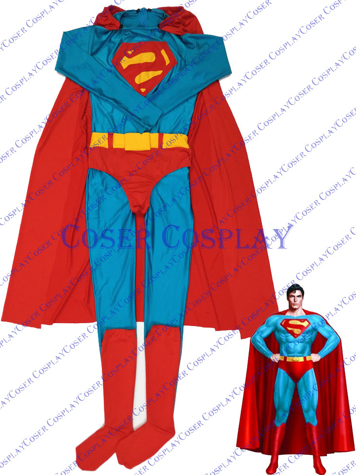 2019 New Superman Cosplay Costume With Cape For Halloween 0421
